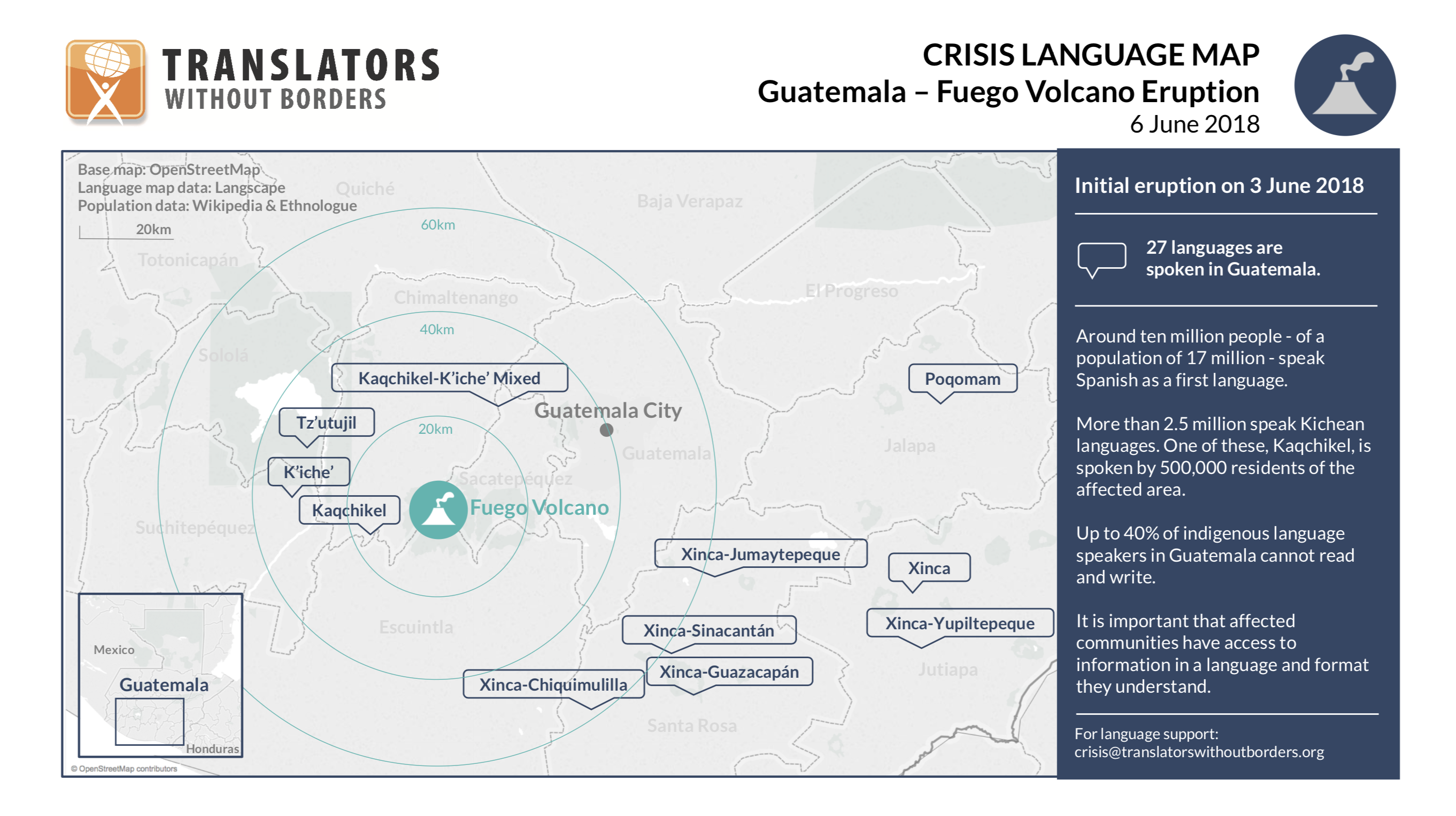 Fuego Volcano Eruption Guatemala - Crisis Language Map TWB