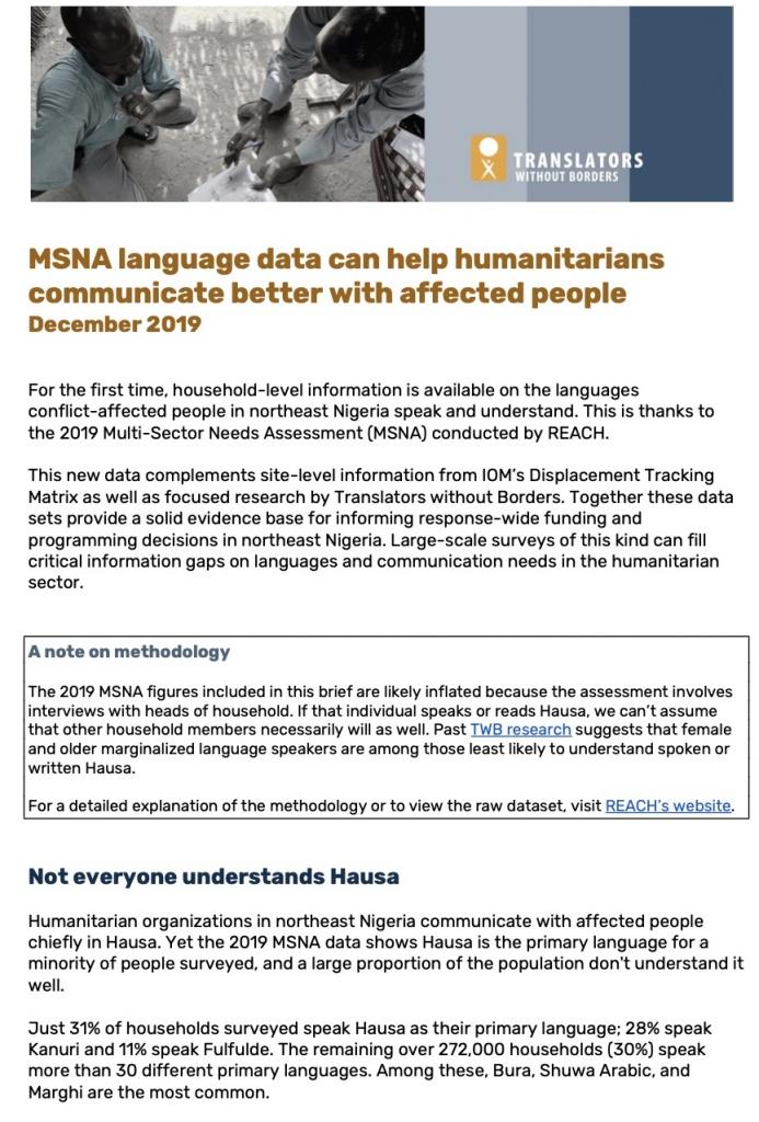 language data northeast Nigeria