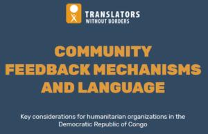 TWB Community feedback mechanisms and language