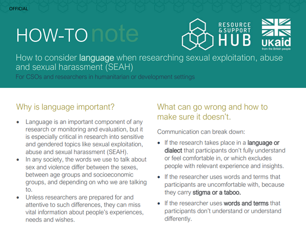 How to consider language when researching Sexual Exploitation, Abuse and Sexual Harassment (SEAH)